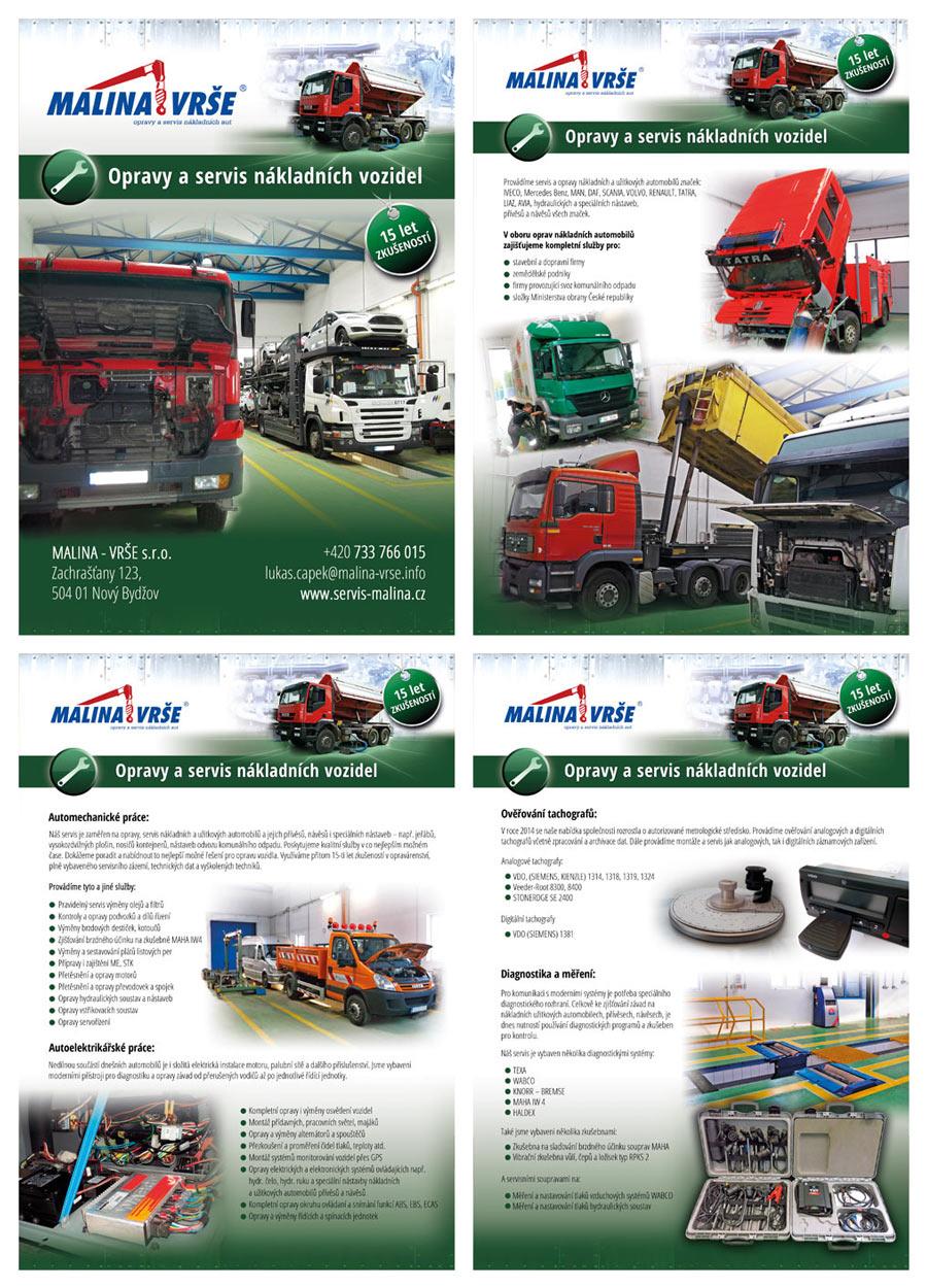 Stránky letáku Servis nákladních aut