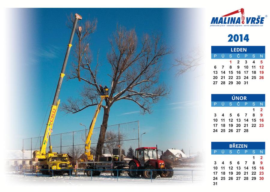 Kalendář na leden, únor, březen