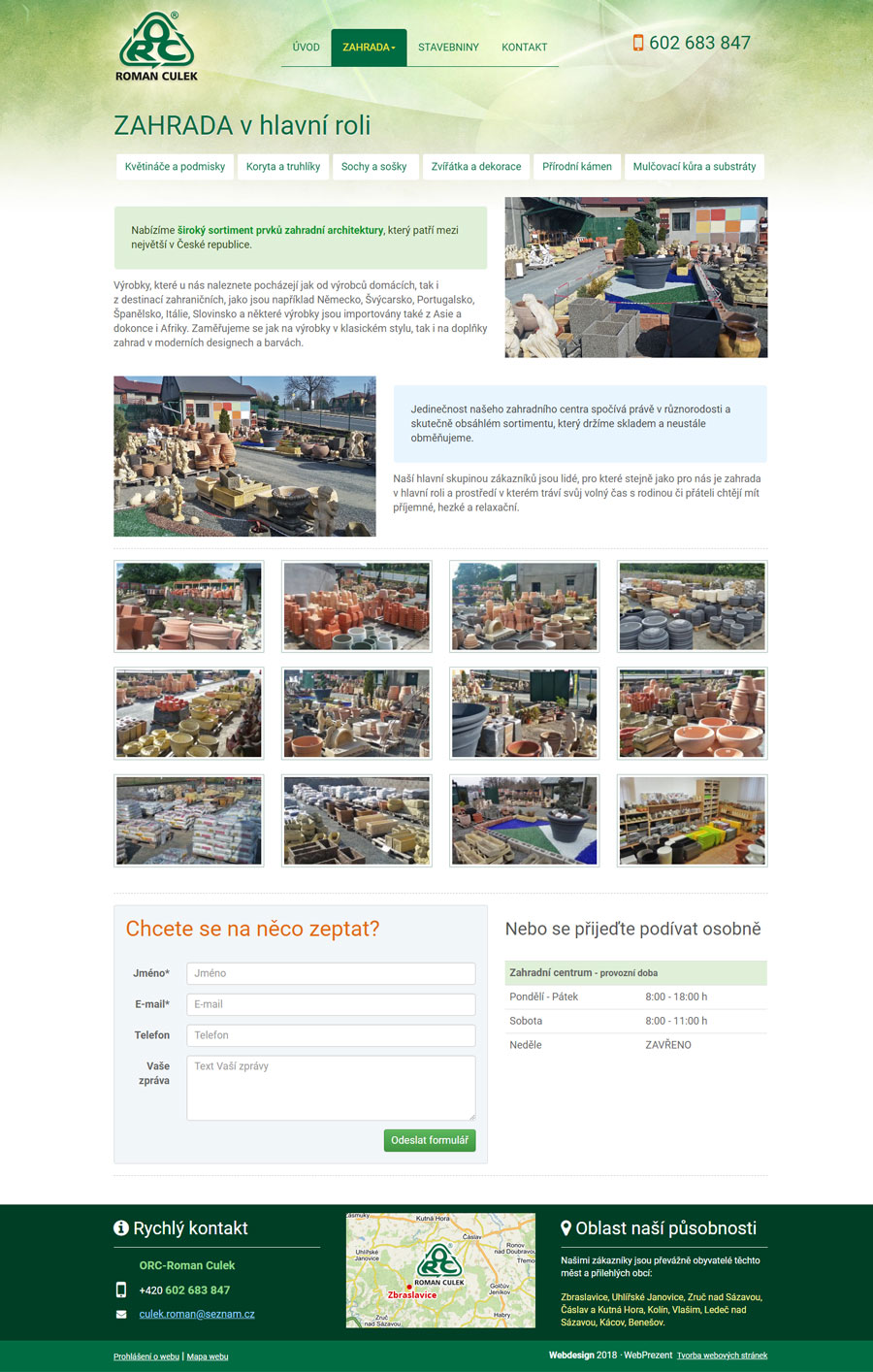 Stránka s nabídkou galerií fotek a formulářem