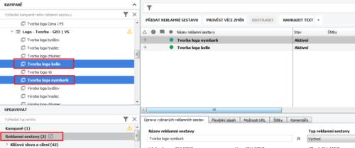 AdWords Editor - Vybrané sestavy k exportu
