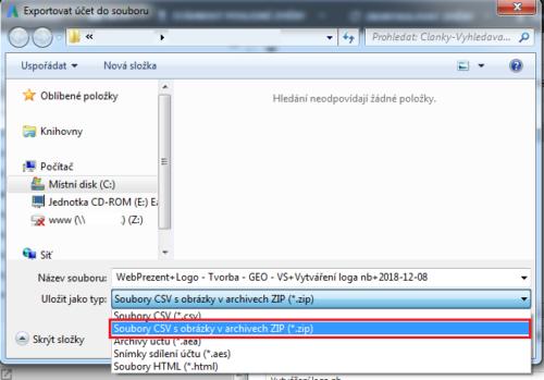 AdWords Editor - Změna typu souboru