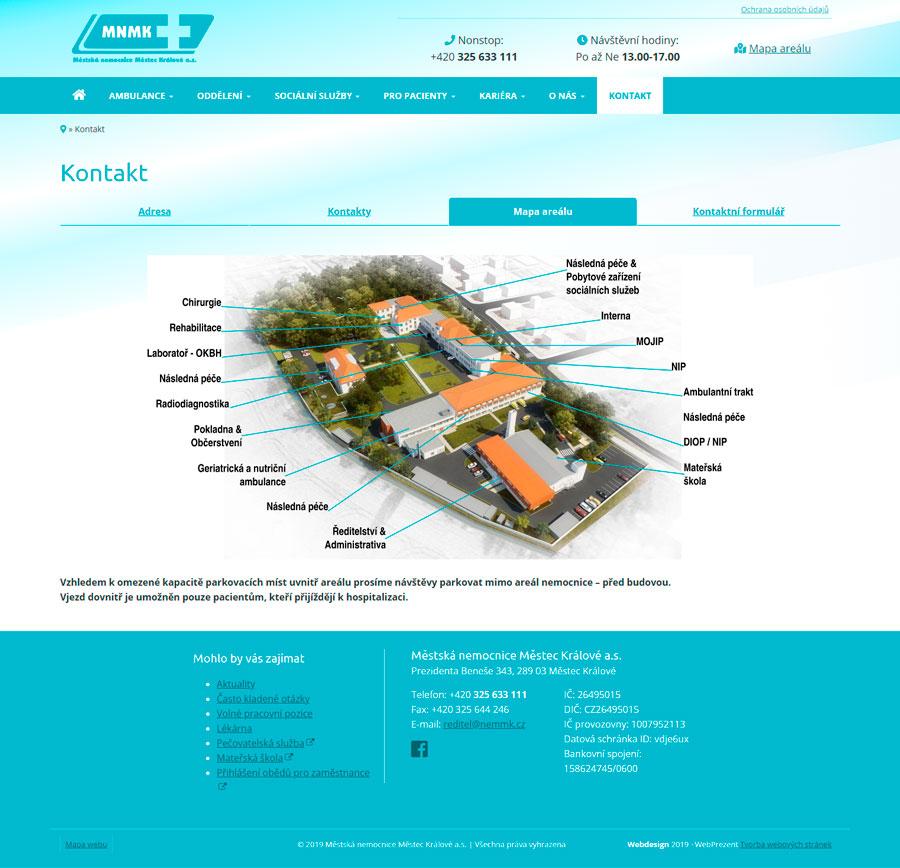 Kontaktní stránka - mapa areálu
