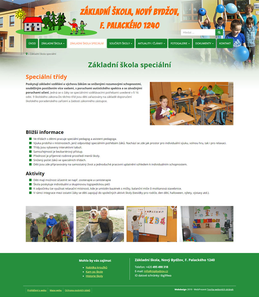 Standardní stránka webu