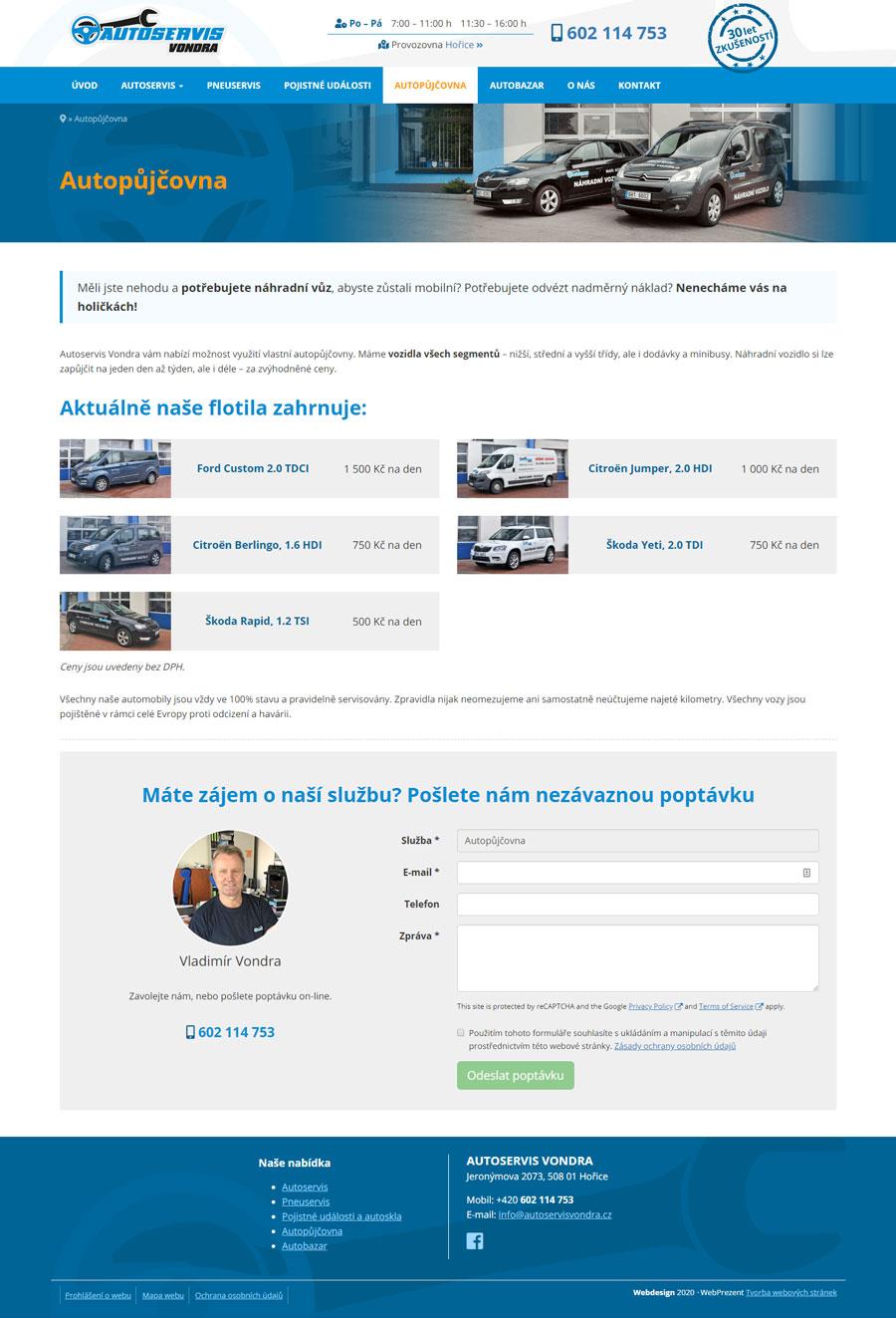 Stránka autopůjčovny
