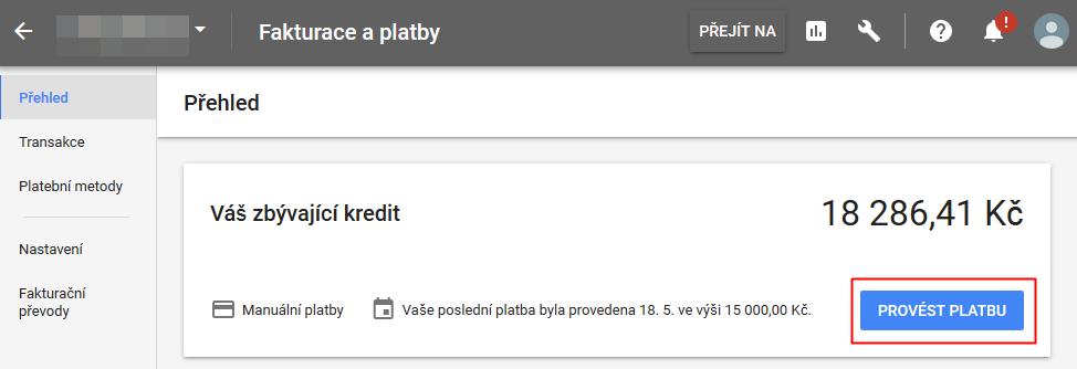 Google Ads - dobití kreditu
