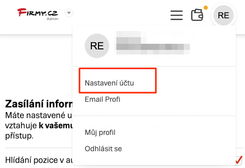 Firmy.cz - Nastavení účtu