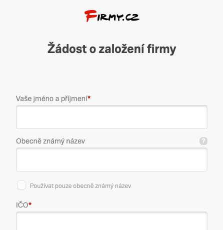 Firmy.cz - Formulář pro registraci