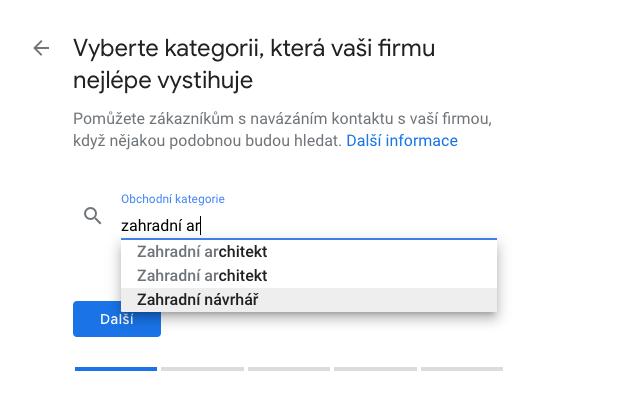 Google Places - Volba kategorie