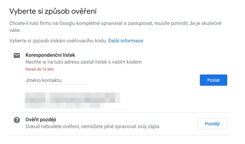 Google Places - Ověření firmy