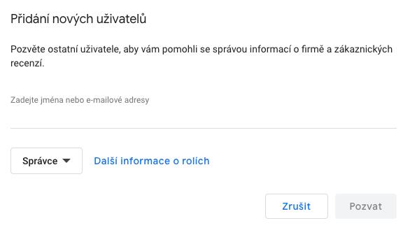 Moje firma na Google - Přidání uživatele