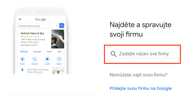 Přidání firmy na Google