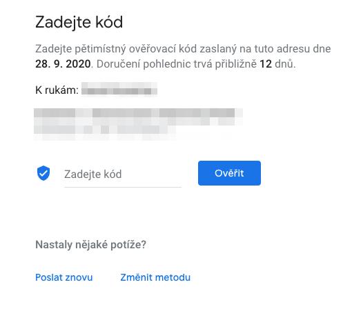 Google Places - zadání ověřovacího kódu