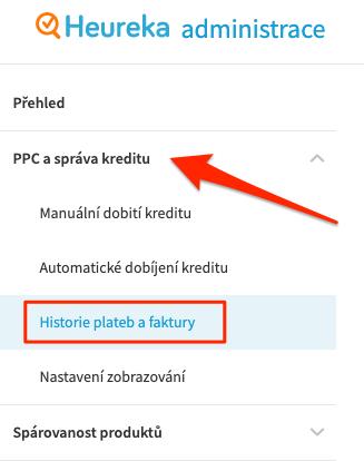 Heureka - adminisitrace - menu