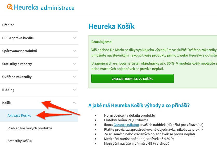 Heureka - Aktivace Heureka Košíku