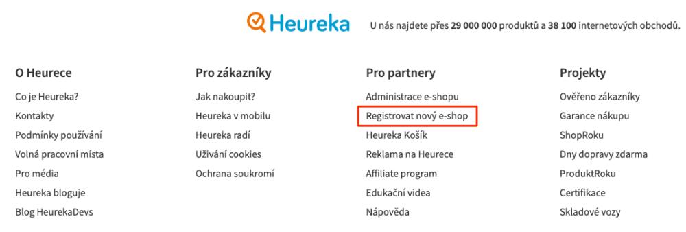 Heureka - registrace
