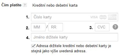 Google Ads - údaje o platební kartě