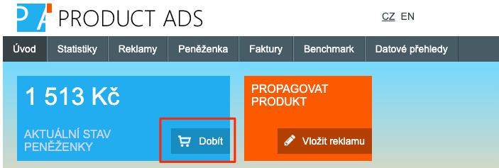 Heureka Product Ads - Dobití kreditu