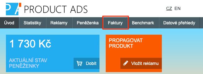 Heureka Product Ads - Stažení faktur