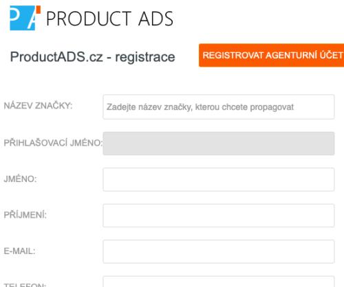 Heureka Product Ads - Registrační formulář