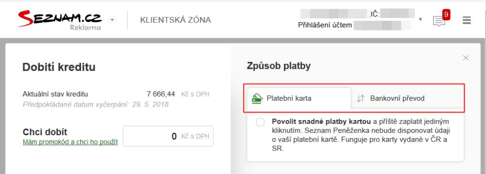 Seznam.cz - platební metody