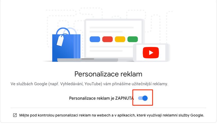 Google: Vypnutí personalizace reklam