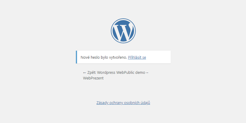 reset hesla do administrace WebPublic