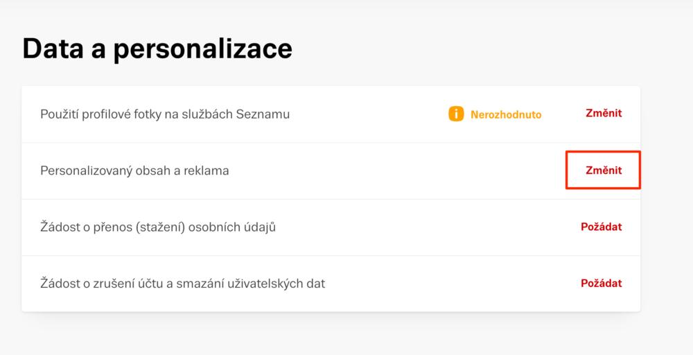 Sklik: Personalizace