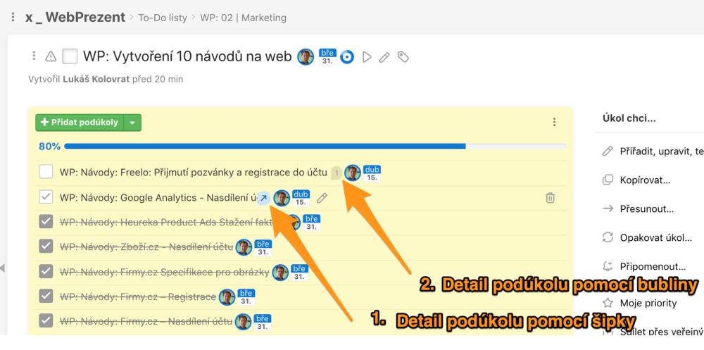 Freelo – úkázka možnosti prokliku na detail podúkolu
